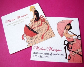 Personalized Vintage Business Cards Calling Cards - Set of  48