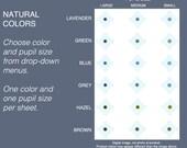 Choice: One Size Medium Shades 2mm, 3mm, 4mm, Natural Human Eye Colors flat eyeballs