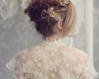 Vintage style lace shrug - ivory delicate corded lace