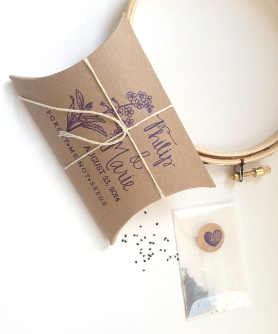 Me To You Wedding Gifts: Forget Me Not Seeds. Unique Wedding Favors With Custom Stamp