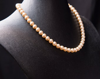 Vintage Inspired Swarovski Pearl Necklace in Light Gold