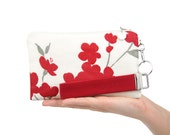 Red floral evening bag with cherry flower blossoms is a fabric small purse for bridesmaid clutch