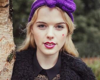 Sparkly Purple Knitted Bow Headband, Glitter Knitted Headband, Oversized Bow Headband, Cute and Cosy Ear Warmer