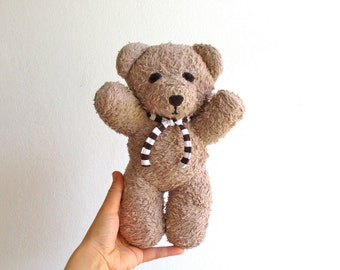 Тeddy bear, organic, plush, beige, light brown, soft, cuddly, baby friend, hug, eco friendly, toddler, gift, can be vegan