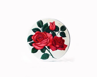 Round Metal Tin | Vintage | Red Rose | Large