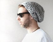 FOR HIM - Super Soft Knitted Hat in Grey Yarn - Gray Ombre Slouch Hat - Unisex Accessories - Hand Knitted Gifts - Cosy and Soft - EllaGajewskaHATS