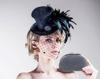 SALE Mini Top Hat Black with Mysterious Birdcage Veiling Steampunk Accessory Free Matching Bag Feather Racing Accessories Gothic Aristocrat