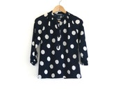 vintage navy blue polka dot tunic
