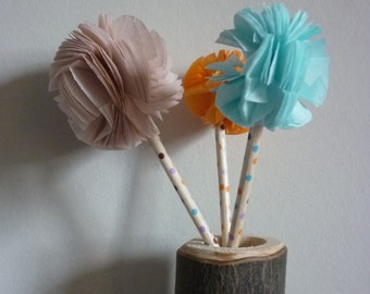 5 x Paper Pom Cake toppers - wedding - party - bridal - christening - baby shower , cupcake