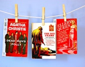 1950s Paperback Mysteries Detective Books Noir Murder Mystery Novels Pulp Fiction Books Set Vintage Agatha Christie Poirot Ellery Queen