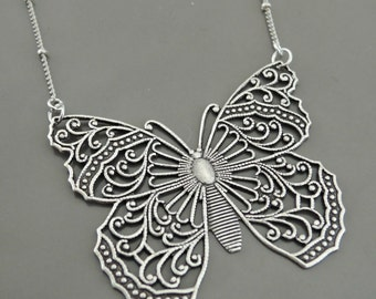 Vintage Necklace - Silver Necklace - Butterfly Necklace - Filigree Necklace - Butterfly Jewelry - Statement Necklace - handmade jewelry