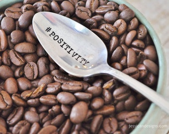 What's Your Personal Hash tag - Personalized Handstamped Hashtag Spoon (TM) - Humourous Spoon for Coffee Lovers