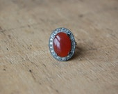Art Deco carnelian costume ring ∙ 1930s costume ring