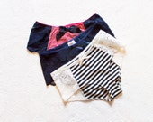 Nautical Three Pack of Panties In Satin Stripes Red Navy Blue and White Perfect for Summer Handmade to Order