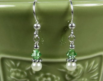 Green and Pearl Earrings - Pearl Earrings - Peridot Earrings - Green Earrings - Sterling Silver Earrings