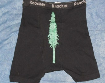 Tree Shorts, Small - Douglas Fir Tree, Black - boxer brief shorts silkscreen screenprint forest sexy gift male man dude boy trunks
