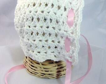 crochet baby bonnet - Shell Baby hat newborn, infant toddler baby girl baptism bonnet christening cap crochet hat photo prop new baby gift