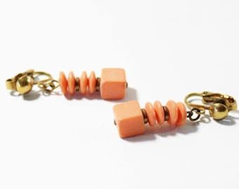 1970s Dangle Coral Resin Clip Earrings