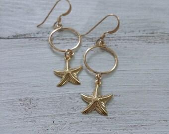 Sea Life Jewelry, Starfish Earrings, 14K Gold Filled Earrings, Nautical Jewelry, Starfish Jewelry, Gold Starfish Earring, Gold Hoop Earrings