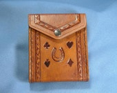 Hand Tooled Leather Playing Card Case