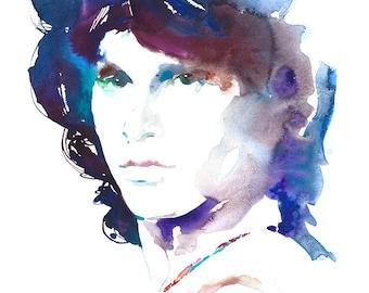 Jim Morrison Print, Watercolour Painting Print, Portait Illustration, Jim Morrison