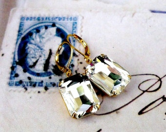 Emerald Cut Crystal, Hollywood Glam Ice Crystal Jewel in Natural Brass Earrings