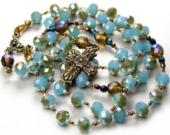 Smoky Sea Blue Crystal Rosary Necklace with Topaz Brown Aurora Antique Bronze Rosary Cross Pendant Necklace Aqua Blue Rosary Unique Rosary