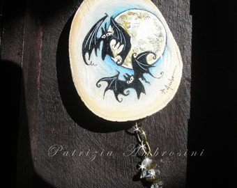 Art Block handpainted -bats in front of the moon - on Wood - - ORIGINAL Painting collectible , miniature, collectable