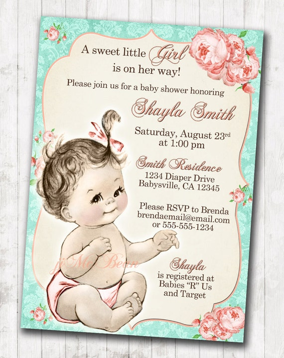 Shabby Chic Floral Vintage Baby Shower Invitation For Girl
