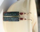 Sonora Sunrise Jasper Earrings with Garnet Rondelles and Copper Earwires