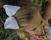 XL 5-Inch WHITE Boutique Hair Bow-- Great for Big Girls