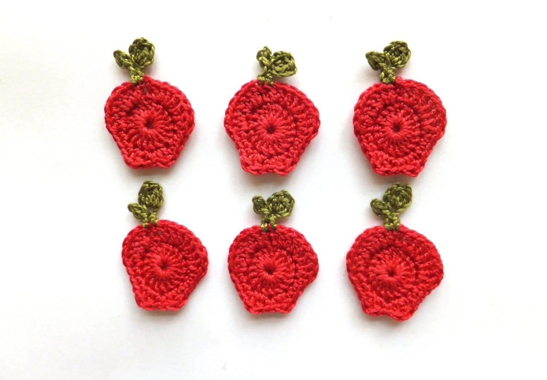 Crochet apples applique autumn fruits embellishments for Applique decoration
