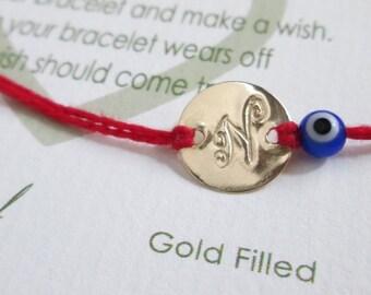 Gold Disc Bracelet Tiny Evil Eye Bracelet Red Kabbalah Bracelet Friendship Bracelet Red String Bracelet Personalized Disc Gold Disc Initial