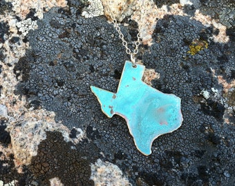 "Texas ""Lone Star"" Patina Necklace-brass,gold,turquoise,something blue,longhorns,blue state necklace,gift idea, christmas present"