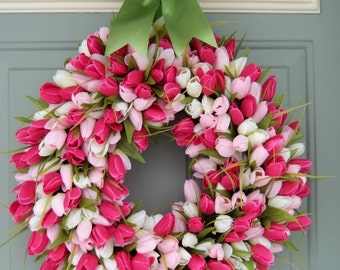 Spring Wreath -  Spring Tulip Wreath - Tulip Door Wreath