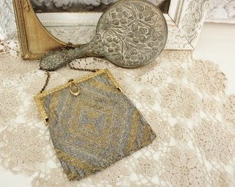 Antique French Art Deco Microbead Beaded  Silver and Gold Purse