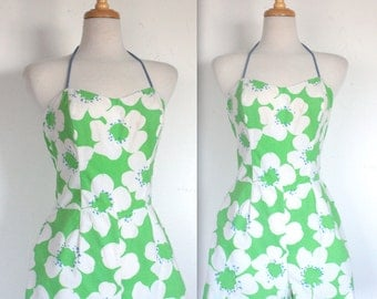 Vintage Pin Up Summer Cotton Swimsuit Playsuit // Green Mod Floral Print // DIVINE