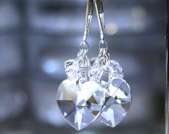 ON SALE - Crystal Heart Earrings - Swarovski Crystal and Sterling Silver - Sterling Silver Leverbacks - Sweetheart Earrings