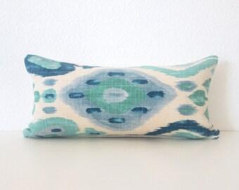 Pillow SALE  Django Turquoise 8x16 ikat mini lumbar pillow cover