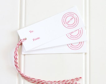 Holiday Letterpress Gift Tags, North Pole Express Gift Tags, Christmas Presents,  Santa's Workshop, Red and White Baker's Twine - Set of 10