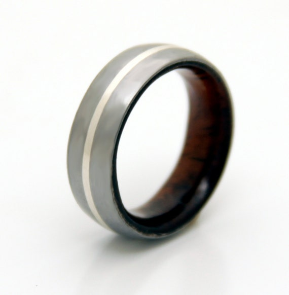 mens wedding band with interior wood and titanium by