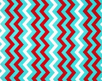 Aqua Red Shi Shi Chevron - Michael Miller Fabrics