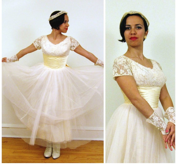 RESERVED FOR ALifeMoreSimple  Vintage 1950s Deadstock Wedding Dress by Cahill / Four Piece 50s Wedding Dress w/Head Crown, Garter & Cuffs