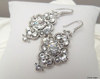 Bridal Wedding Earrings,Wedding Jewelry,Crystal Bridal Earrings,Swarovski Crystal Earrings,Bridal Jewelry,Bridal Rhinestone Earrings,CLAUDE
