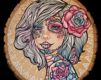 Halfway - Archival  Art Print Day of the Dead Tattoo Lace Butterflies Woman Girl Art Beautiful Pink and Blue Roses Ombre hair art