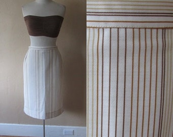 M high waist pin stripe brown cream vertical hipster vintage 1970s vintage 70s pencil midi skirt - medium M