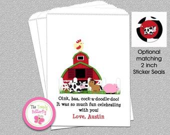 Farm Barnyard Party Favor Bags, Farm Birthday Party , Candy Bags, Goody Bags, Party Favor Bag