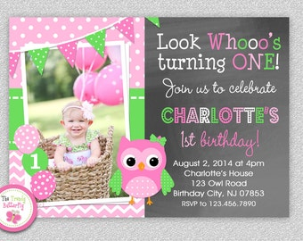 Owl Birthday Invitation ,  Girls Owl Invitations,  1st Birthday Owl Party,  Pink and Green Owl Birthday Party, Printed Invitations