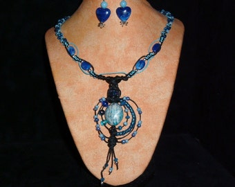 Hemp Necklace Blue Dazzle