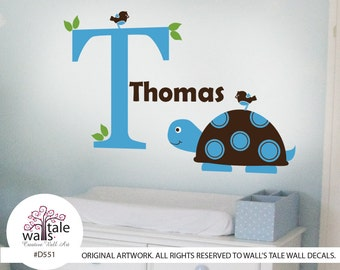 Mod Turtle with Initial Name wall decal with little birds and leaves for boy or girl nursery.Vinyl Sticker Nursery Child Baby Decor.d551